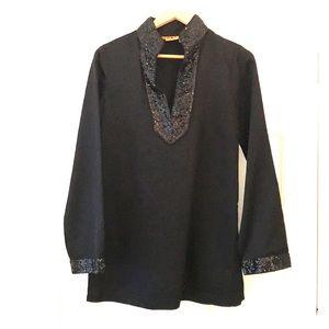 Tory Burch Black 100% Silk Tunic
